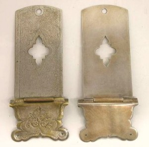 9) Front view of original clasp and replica, patinated.