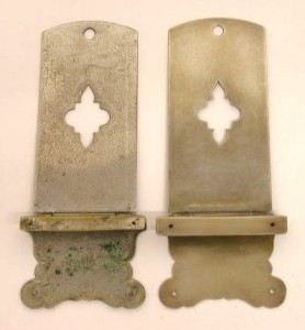 8) Back view of original clasp and replica clasp, patinaed.
